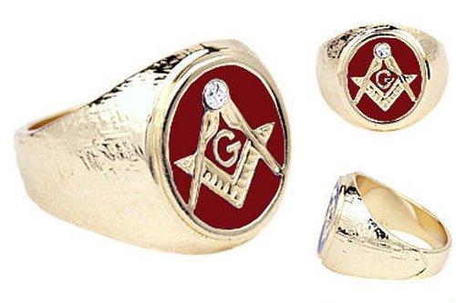 .05 cw CZ Enamel 14k Gold Overlay Red Enamel Men's (Enamel Masonic Ring)