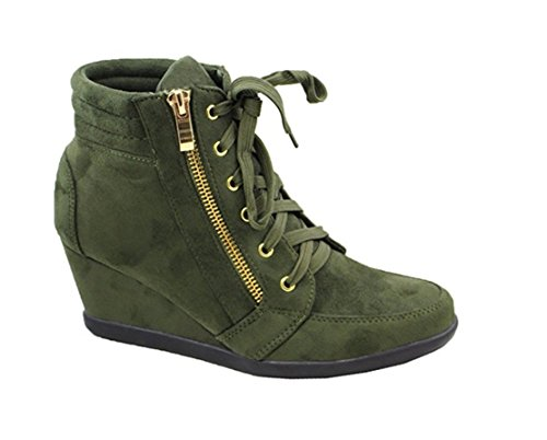 Cosetwear Donna Moda Peggy-56 In Pelle Scamosciata Pu Lace Up Sneakers Con Zeppa Superiore Oliva