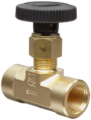 Parker V Series Brass Needle Valve, Inline, Hand Wheel, PCTFE Tipped Stem, 1/4