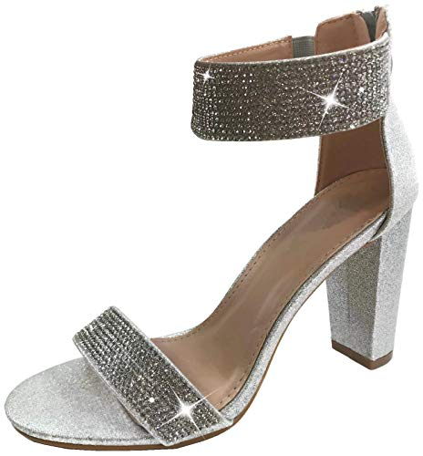 Harper Shoes Women's Open Toe Crystal Rhinestone Ankle Strap Chunky High Heel Dress Sandal, Silver, 8