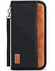 Looxmeer Reisepass Tasche Familie Reiseorganizer mit RFID-Blocker, Tragbare Reisepasshülle Ausweistasche für Damen und Herren, Grau