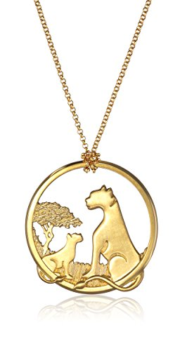 """Alex Woo """"African Cats"""" Small 14k Yellow Gold Pendant Necklace, 18"""""""