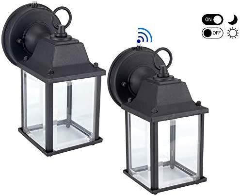 LIT-PaTH Outdoor LED Wall Lantern with Dusk to Dawn Photocell, 5000K Daylight White, 9.5W 75W Equivalent , 800 Lumen, Aluminum Housing Plus Glass, Outdoor Rated, 2-Pack Black