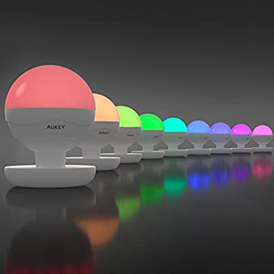 AUKEY Rechargeable Table Lamp, Dimmable RGB Color LED Bedside Lamp with Touch Panel and Retractable Hanging Loop