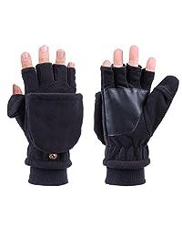 LOKIDVE Unisex Winter Fingerless Gloves with Mitten Cover