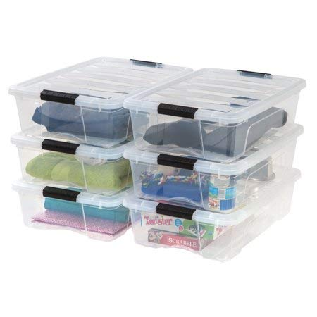 IRIS 26 Qt. Stack & Pull Plastic Storage Box, Clear- Available in Case of 6 or Single Unit ()