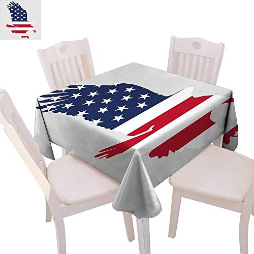 cobeDecor Eagle Printed Tablecloth Stars and Stripes on a Bald Eagle American Way of Life Bird Symbol Flannel Tablecloth 50