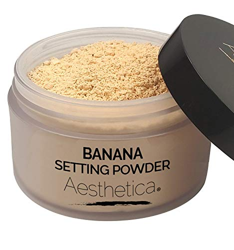 Aesthetica Banana Loose Setting Powder - Flash Friendly Superior Matte Finish Highlighter & Finishing Powder - Includes Velour Puff (Makeup Forever Ultra Hd Invisible Cover Foundation Ingredients)