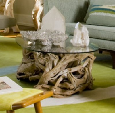 Coastal Teak Driftwood Coffee Table | Ocean Beach Glass Top For Sale