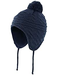 Connectyle Toddler Boys Girls Fleece Lined Knit Kids Hat with Earflap Winter Hat (Navy, S:6M-12M(17.3