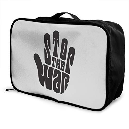 Keep Calm And Stop War Lightweight Large Capacity Portable Luggage Bag Fashion Travel Duffel Bag