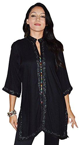 Ethnic Women Tunic Shirt Handmade Breathable Cotton Moroccan Casual Fashion Medium to Large Black