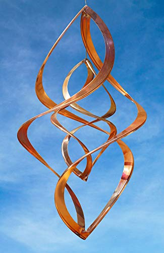 Handcrafted Double Infinity Copper Wind Sculpture by American Artist Neil Sater, 16 in