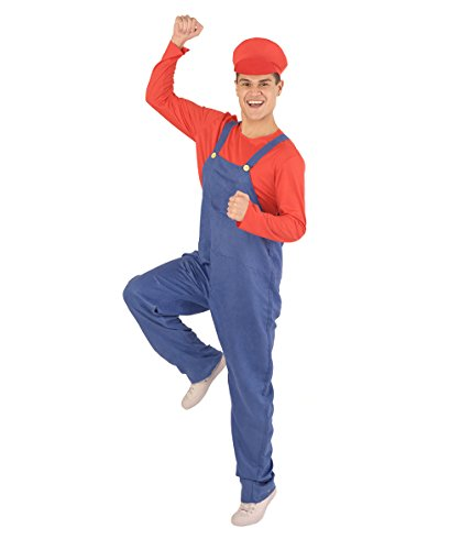 Halloween Party Online Men's Mario's Plumber Costume, Red Medium