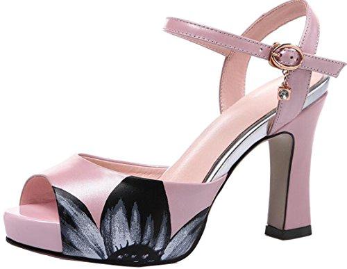 toe Peep Sandal Leather Women's Laruise Pink qw8p4wtC