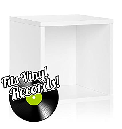 Vinyl Record Storage Cube Extra Large Stackable LP Record Album Shelf, White