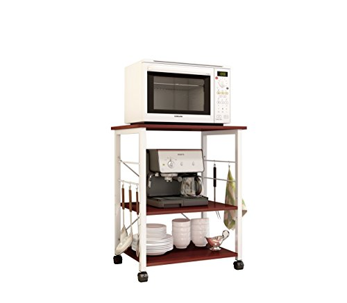 Soges 2-Tier Microwave Oven Stand Storage Cart with Wheel Workstation Shelf Kitchen Baker's Rack Utility, W4