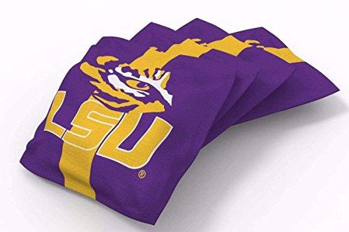 (PROLINE 6x6 NCAA College LSU Tigers Cornhole Bean Bags - Stripe Design (A))
