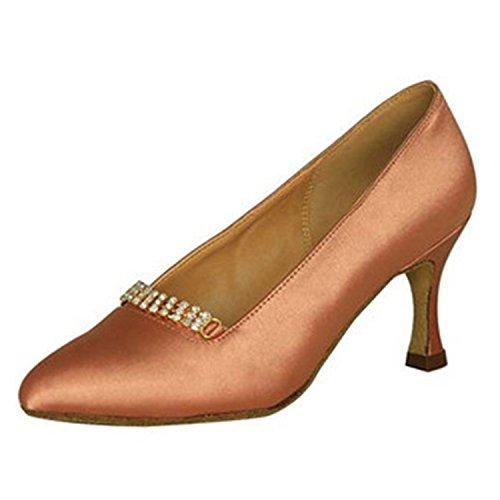 YFF Gift Women dance Shoes Ballroom latin Dance tango dancing shoes 7CM Brown