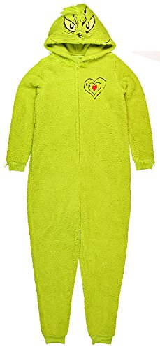 Dr. Suess Grinch Women's Plus Licensed Sleepwear Adult Costume Union Suit (Medium)