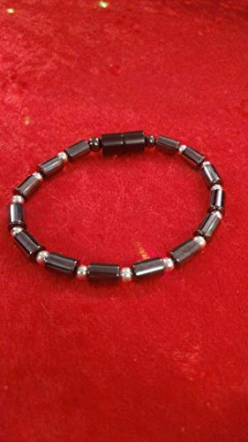 magnetic hematite barrel bracelet silver for pain relief and balance let me know the size you need