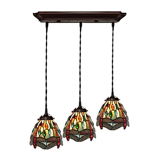 Tiffany Style Chandelier Dragonfly, 3-Light Stained Glass Lampshade Pendant Light, Ceiling Lamp Fixture for Bedroom Dining Room, E27/E26, 220V ()