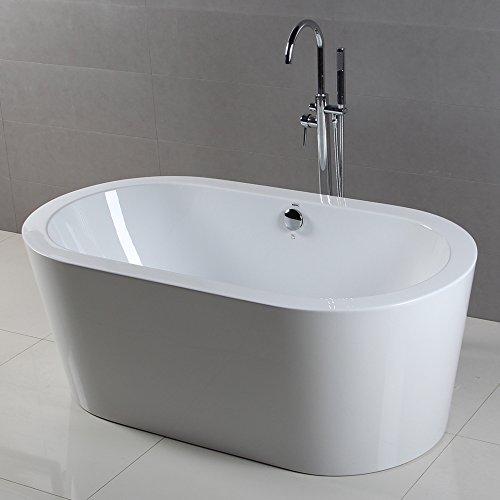 FerdY Freestanding Bathtub, Soaking Bath Tub, Stand Alone Tub for Bathroom, Contemporary Style, High Glossy, Acrylic, White by FerdY