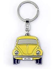 BRISA VW Collection – Volkswagen breloczek do kluczy w eleganckim pudełku na prezent z wytłoczeniem, pomysł na prezent/pamiątka dla fanów/artykuł retro vintage (żółty/miękka emalia/chromowany)