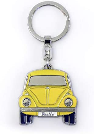 BRISA VW Collection - Volkswagen Beetle Car Bug Key Ring Chain in Embossed Gift Tin, Gift Idea/Fan Souvenir/Retro Vintage Product (Red/Enamel/Chrome)