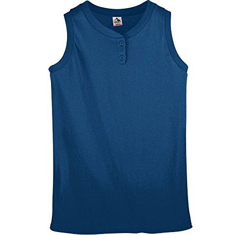 (Augusta Sportswear Women's Sleeveless Two-Button Softball Jersey M Navy)