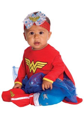 Infant Onesie Halloween Costumes (DC Comics Baby Wonder Woman Onesie And Headpiece, Red, Newborn Costume)