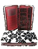 Velvet Coated Damask Flat Wallet Clutch Opera Purse Red, Bags Central