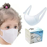 50pcs Kids girls boys Child Disposable Face Mask Breathable Dustproof Mouth Nose Full Covered White Color 50 Pcs