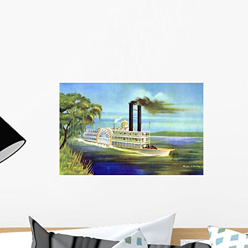 Classic Chimney Wall - Mississippi Steamboat Magnolia Wall Mural Wallmonkeys Peel and Stick Graphic (18 in W x 12 in H) WM128900