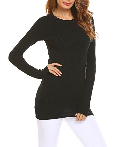 Soteer Women's Cashmere Long Sleeve Turtleneck Vintage Pullover Sweater Black (Cashmere Vintage Sweater)