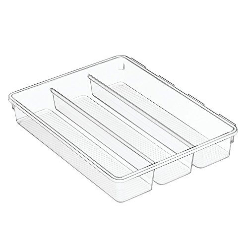InterDesign Linus Interlocking drawer Organizer Cutlery Tray For Forks, Spoons, Knives - Clear