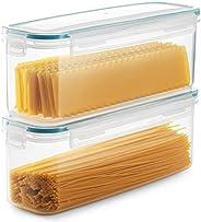 Komax Biokips Set of 2 Pasta Storage Containers | 77.8-oz Rectangular Pasta Containers | Airtight Spaghetti Co