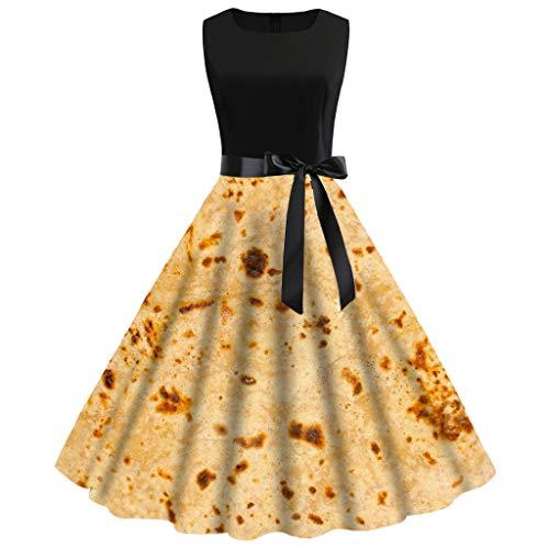 - SOWU Women Prom Pleated Dress,Ladies Vintage 1950s Sleeveless Burrito Tortilla Print Loose Casual Long Dresses (Yellow, XXL)