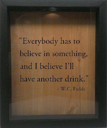 Wicked Good Decor Wooden Shadow Box Wine Cork/Bottle Cap Holder 9x11 - Everybody Has To Believe In Something (Ebony w/Black) by Wicked Good Decor