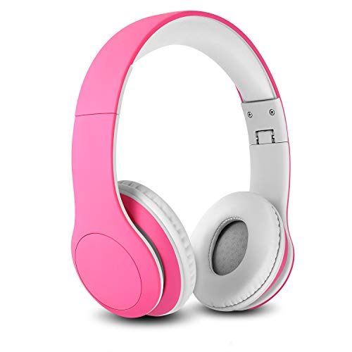 Nenos Bluetooth Kids Headphones Wireless Kids Headphones 93dB Limited Volume Wireless Headphones for Kids (Pink) (Best Wireless Headphones For Ipad 3)