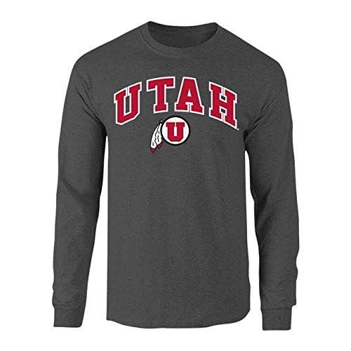 (Elite Fan Shop NCAA Men's Utah Utes Long Sleeve Shirt Dark Heather Arch Utah Utes Dark Heather Large)