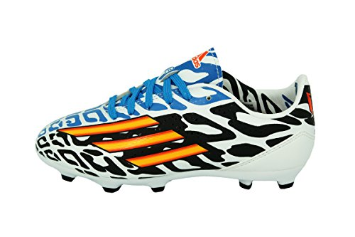 Adidas F10 FG J MESSI WC Scarpe da Calcio Soccer Pelle Bianco Nero Blu FIFA WORLD CUP BRASIL 2014