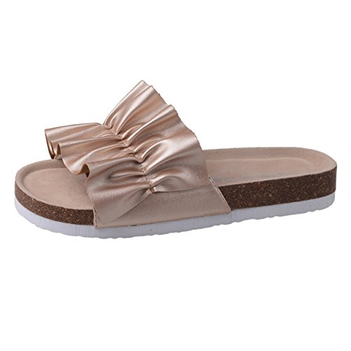 Flip Summer Sandals Shoes Gold Sole Beach Slip Cork Slippers on Flops Comfort Women qAva6x