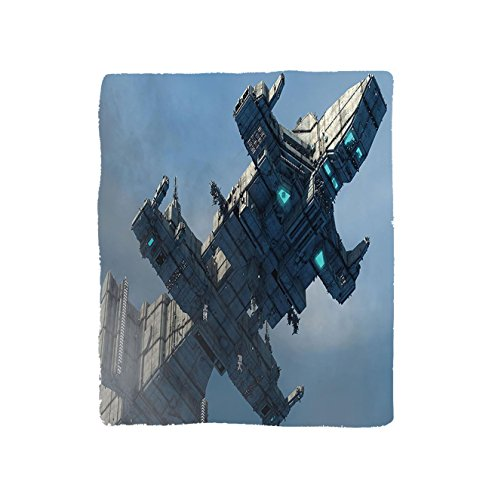 VROSELV Custom Blanket Outer Space Photo of Huge Military Ship in the Air Solar Planetary Cosmos Vehicle Bedroom Living Room Dorm Grey Blue by VROSELV
