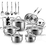 Duxtop Professional Stainless Steel Induction Cookware Set, 19PC Kitchen Pots and Pans Set, Heavy Bottom with Impact-bonded Technology