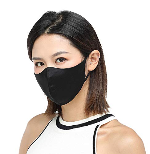 K meet Q Silk Face Mask for Women & Men, Reusable, Washable, with Filter Pocket and Nose Wire #B (Black)