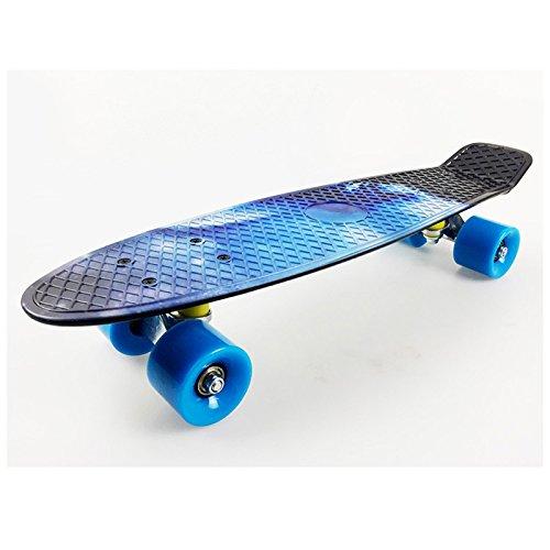 Meiyiu Fashionable Cool Cruiser Print Street Skateboard Banana Board with Smooth PU Casters for Kids Boys Youths Beginners 22Inch