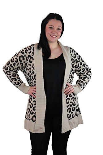 Girltalkfashions Women Chuncky Leopard Print Long Sleeve Cardigan Copyright (XXL)