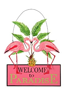 Sunset Vista Designs Kathy Hatch Pretty in Pink Flamingo Welcome to Paradise Sign, 14 by 10-Inch