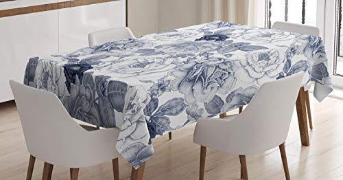 Ambesonne Shabby Flora Tablecloth, Garden Spring Roses Buds with Leaves Flowers Romantic Image Artwork, Dining Room Kitchen Rectangular Table Cover, 60